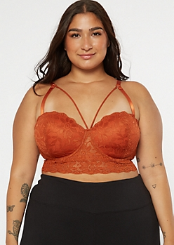 Plus Burnt Orange Strappy Longline Balconette Bra