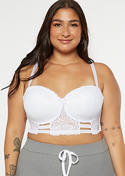 Plus White Caged Longline Balconette Bra
