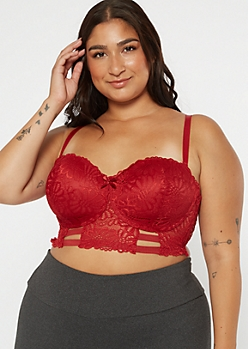 Plus Red Caged Longline Balconette Bra
