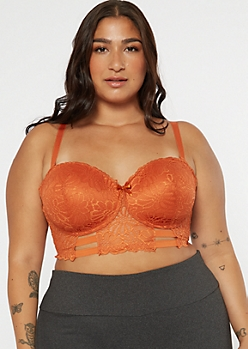 Plus Burnt Orange Caged Longline Balconette Bra