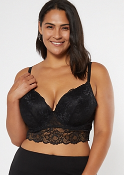 Plus Black Lace Deep Plunge Longline Bra