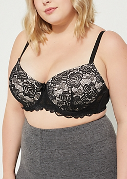 Plus Black Contrast Lace Balconette Bra