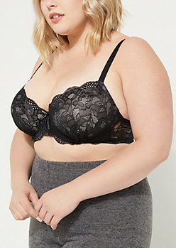 Plus Black Scalloped Lace Balconette Bra