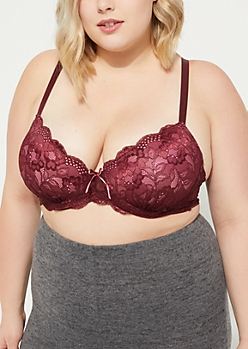 Plus Burgundy Scalloped Lace Balconette Bra