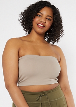 Plus Stone Seamless Ribbed Knit Bandeau