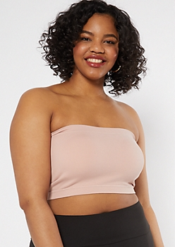 Plus Light Pink Seamless Ribbed Knit Bandeau