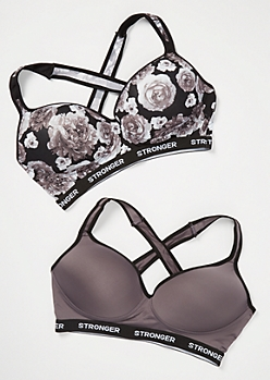 Plus 2-Pack Black Floral Print Stronger Low Impact Sports Bras