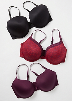 Plus 3-Pack Plum Space Dye Lace T Shirt Bra Set
