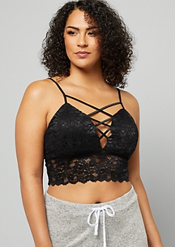 dc3f8b5497 Plus Black Lace Up V Neck Longline Lace Bralette