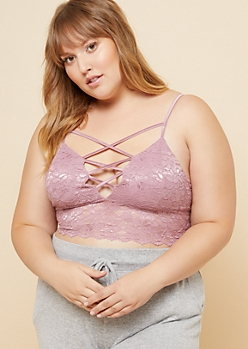 Plus Light Purple Lace Up V Neck Longline Lace Bralette