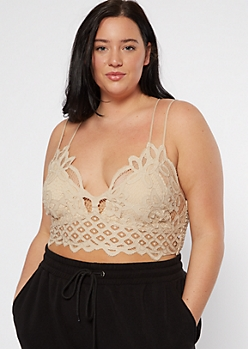 Plus Taupe Pineapple Crochet Crisscross Bralette