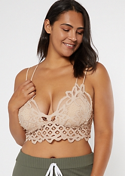 Plus Nude Crochet Crisscross Strap Bralette