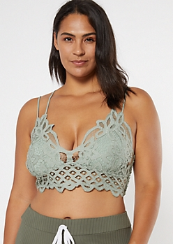 Plus Light Gray Crochet Crisscross Strap Bralette