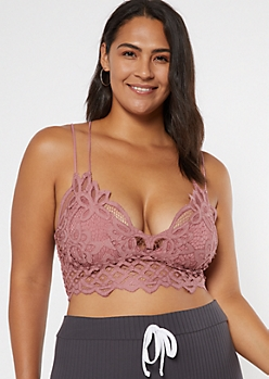 Plus Dark Pink Crochet Crisscross Strap Bralette