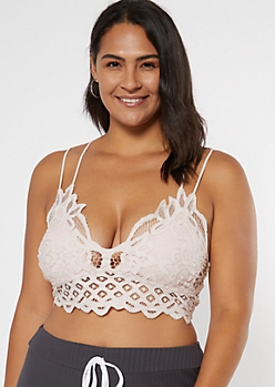 Plus Light Pink Crochet Crisscross Strap Bralette