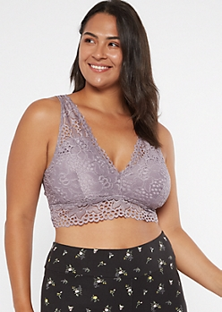 Plus Purple Double V-Neck Bralette