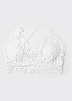 Plus White Daisy Crochet X Back Bralette