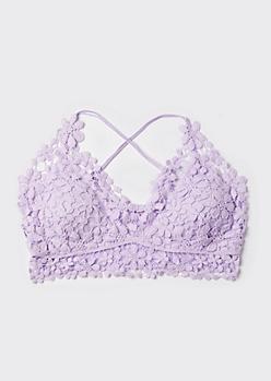 Plus Lavender Daisy Crochet X Back Bralette