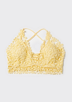 Plus Yellow Daisy Crochet X Back Bralette