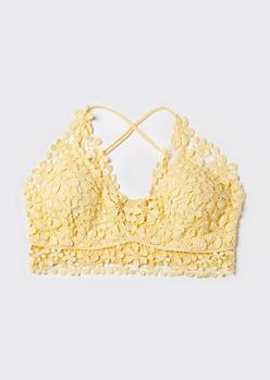 Plus Yellow Daisy Crochet X Back Bralette