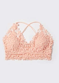 Plus Peach Daisy Crochet X Back Bralette