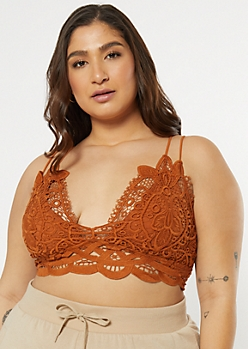 Plus Burnt Orange Crochet Crisscross Strap Bralette