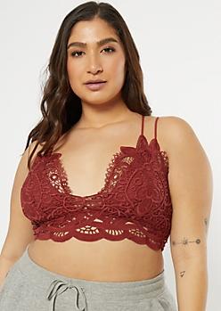 Plus Burgundy Crochet Crisscross Strap Bralette