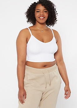 Plus White Seamless Longline Bralette