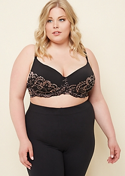 Plus Black Metallic Lace Balconette Bra