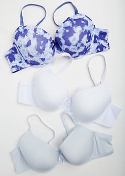 Plus 3-Pack Blue Tie Dye T Shirt Bra Set