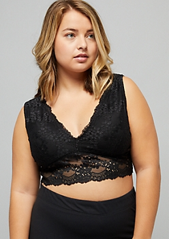 Plus Black Daisy Lace V Neck Longline Bralette