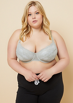 Plus Light Gray Daisy Mesh Balconette Bra