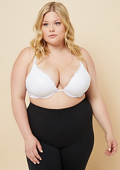 Plus White Lace Deep Plunge Underwire Bra