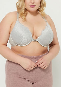 Plus Gray Strappy Racerback Deep Plunge Bra