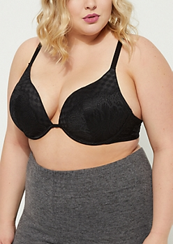 Plus Black Geo Lace Deep Plunge Bra