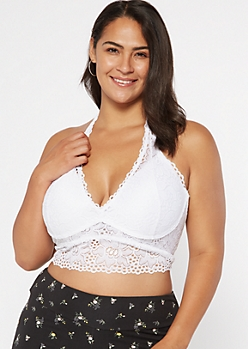 Plus White Lace Underwire Halter Bra