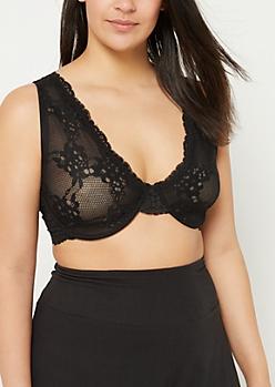 Plus Black Lace Unlined Bra