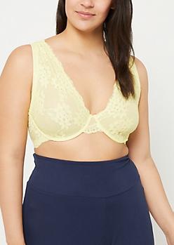 Plus Light Yellow Lace Unlined Bra