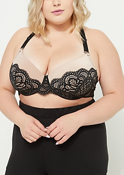 Plus Black Eyelash Lace Balconette Bra