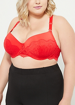 Plus Red Eyelash Lace Balconette Bra