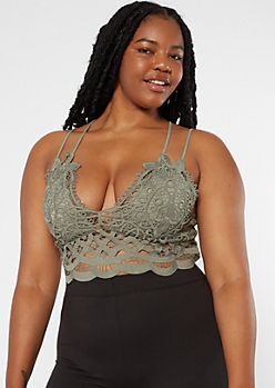 Plus Olive Crocheted Longline Bralette