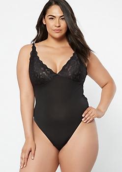 Plus Black Lace Open Back Bodysuit