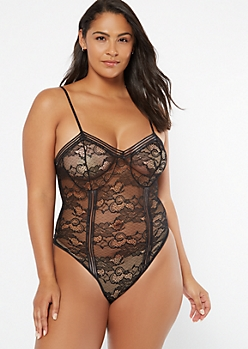 Plus Black Floral Lace Unlined Bodysuit