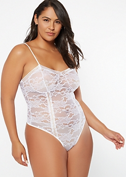 Plus White Floral Lace Unlined Bodysuit