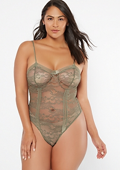 Plus Olive Floral Lace Unlined Bodysuit