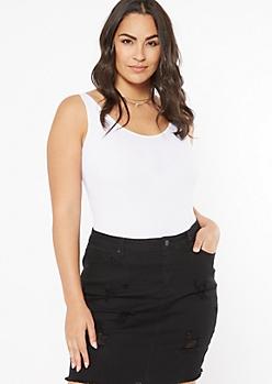 Plus White Ribbed Knit Seamless Bodysuit