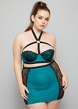 Plus Teal Lace Side Caged Slip And Thong Set