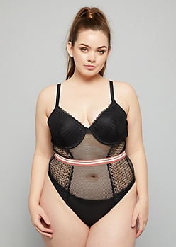 Plus Black Varsity Striped Fishnet Lace Bodysuit