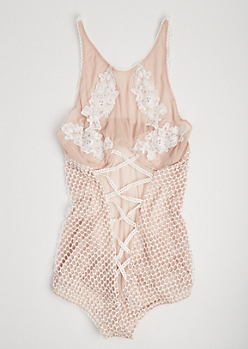 Plus Nude Lace Up Floral Mesh Bodysuit