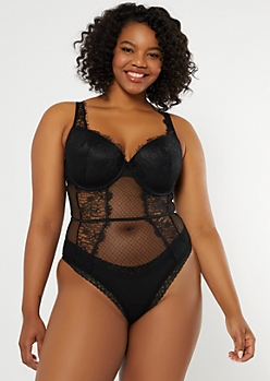 Plus Black Eyelash Lace Lingerie Bodysuit